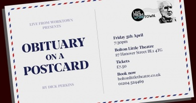 Live from Worktown presents Obituary on a Postcard Friday 5th April 2019